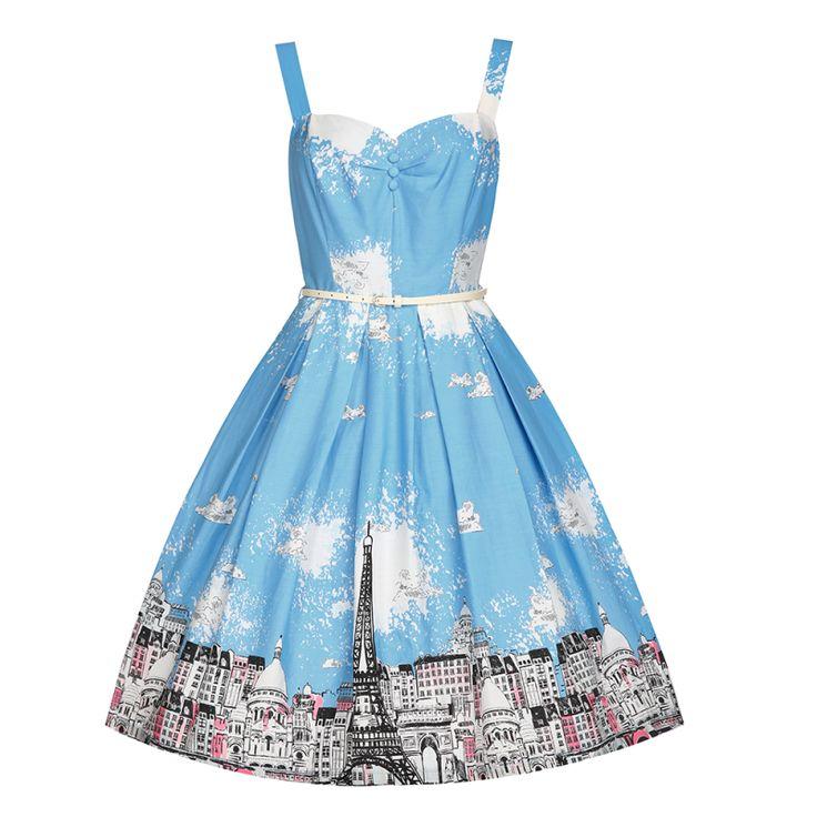 Retro šaty Lindy Bop Bernice Paris Border Šaty ve stylu 50. let. Nechte se přenést do Paříže! Příjemné šaty na krásné letní dny, zahradní párty či běžné nošení. Blankytně modrý podklad s motivem pařížských ulic zajistí, že v tomto modelu budete jedinečná. Širší ramínka, vypasovaný živůtek zdobený ve výstřihu knoflíčky, rozšířená sukně s pravidelnými sklady, boční kapsy, zapínání na zip v zadní části. Součástí úzký bílý pásek. Šaty jsou ze 100% bavlny, podšité slabou podšívkou (100% viskoza)…
