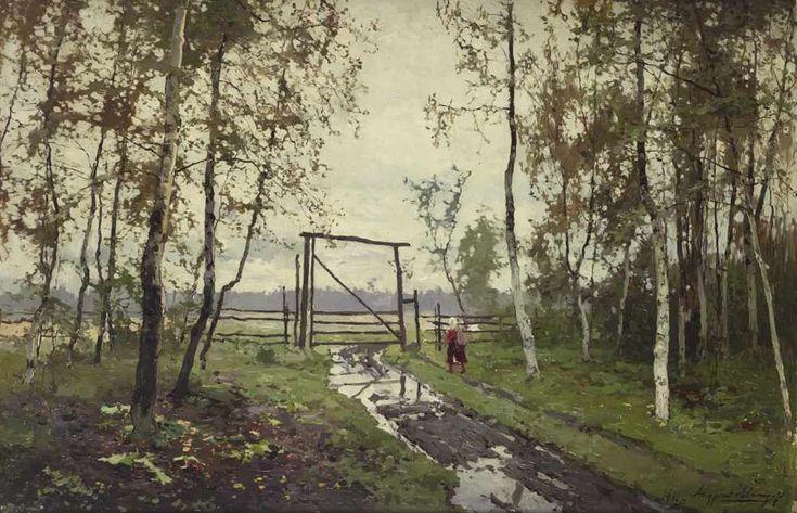 Живопись маслом Andrei Shilder (1861-1919), Après la Pluie.