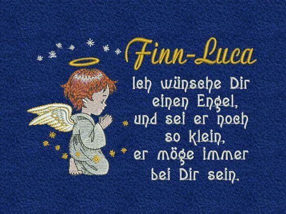 Towel Embroidered Angel Saying Name