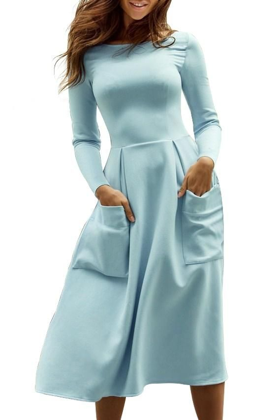 Robe Evasee Mi Longue Bleu clair Col Bateau Poches Manches Longues Pas Cher www.modebuy.com @Modebuy #Modebuy #Bleu #style #outfit #women #partydress