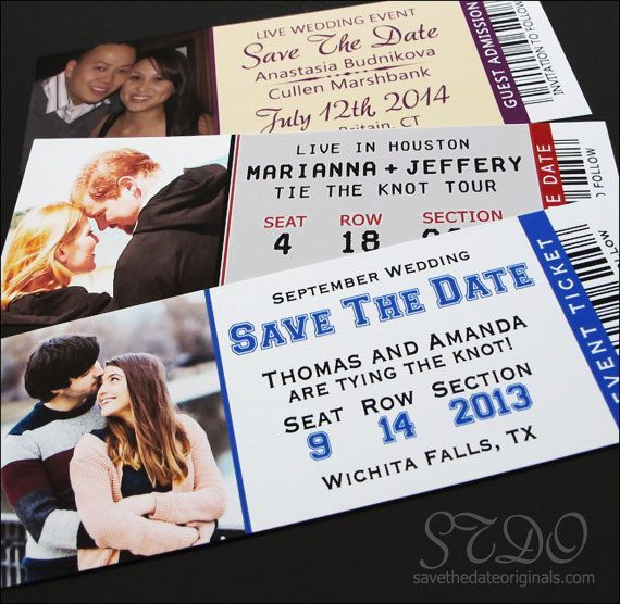 Save the date ticket magnets with white envelopes by STDONexus sports save the dates, baseball save the dates #wedding #sports