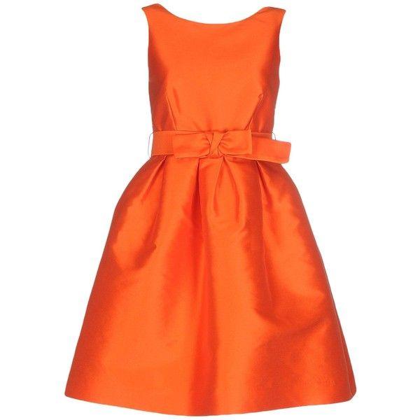 P.a.r.o.s.h. Short Dress found on Polyvore featuring dresses, orange, orange mini dress, orange dress, tube dress, zipper dress and sleeveless dress