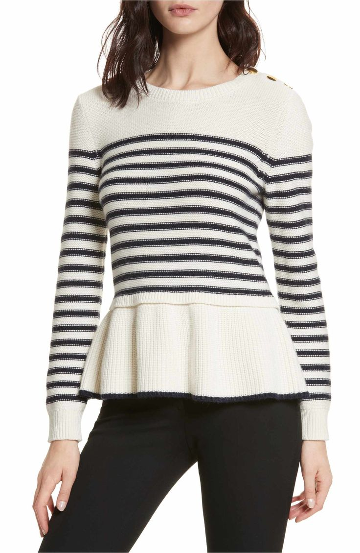 Main Image - kate spade new york navy stripe peplum sweater