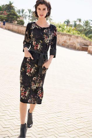 Buy Black Floral Print Dress from the Next UK online shop