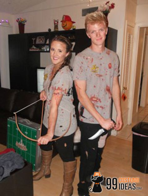 10 coolest diy halloween couples costumes part 2 hell yeah idk what that pic is but it gave me the idea of a hunger games costumes - Halloween Fashion Games