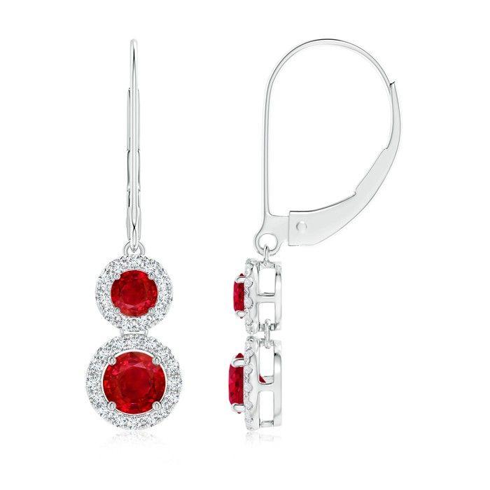 Angara Trillion Ruby Leverback Earrings in White Gold zFomrxTb