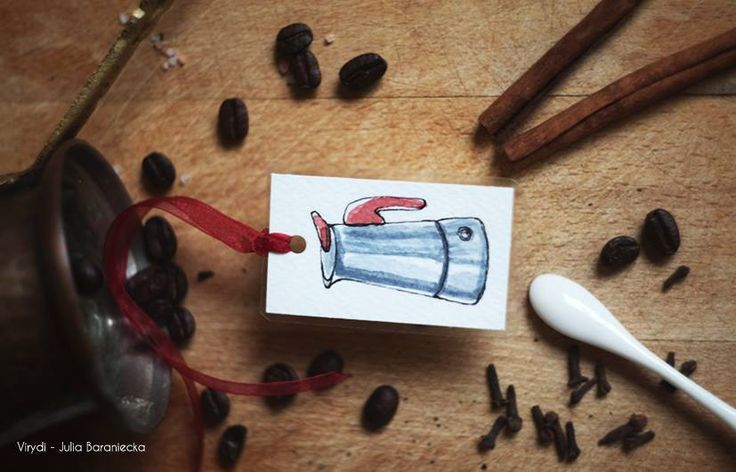Coffee Addict Bookmark Made with watercolours, laminated, decorated with ribbon
