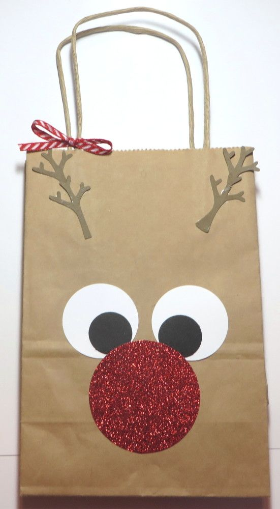 Rudolph the Red-Nosed Reindeer Gift Bag! So easy! Find a shopping bag in your stash and punch some circles!
