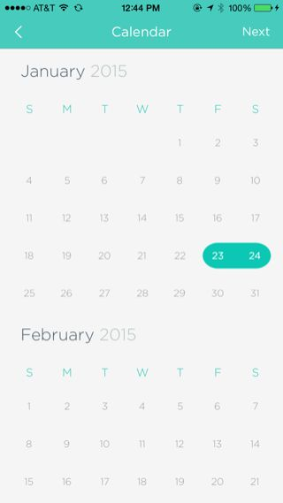 Gogobot iPhone booking, calendar screenshot