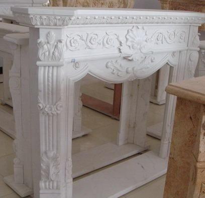 Designer Style Hand Carved White Marble Fireplace Mantel, Elegant #3970