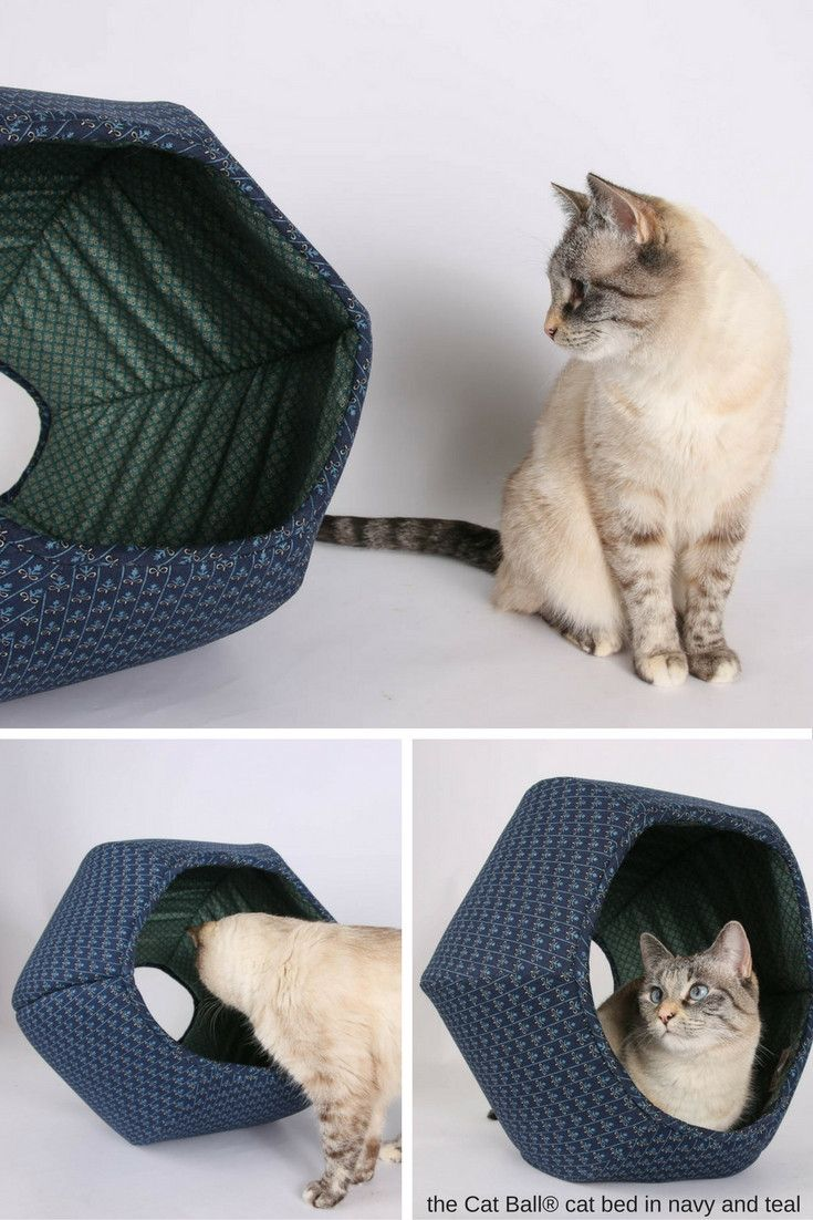 pretty design modern cat bed. The navy and teal Cat Ball  cat bed is made with 100 cotton fabrics 537 best Home Decor Catification for Owners in Brown