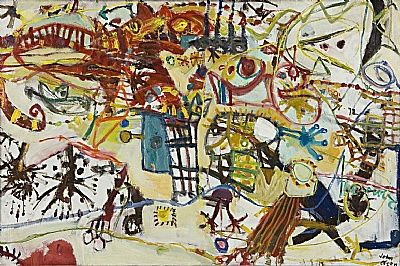 John Olsen   Circus Day c.1963  oil on composition board  120 x 181 cm