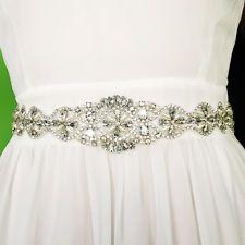 Rhinestone Crystal Bridal Gown Sash Dress Belt Ribbon Pearl Bead Wedding Party