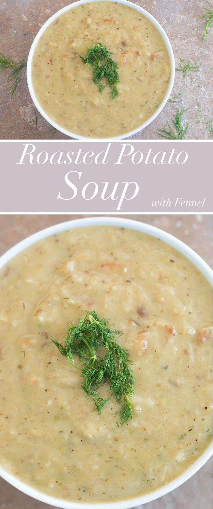 Vegan roasted potato soup with fennel & dill. It is an easy potato soup recipe made using cream of coconut. | #Vegan #vegetarian #comfortfood #soups #potato #stpatricksday #potato