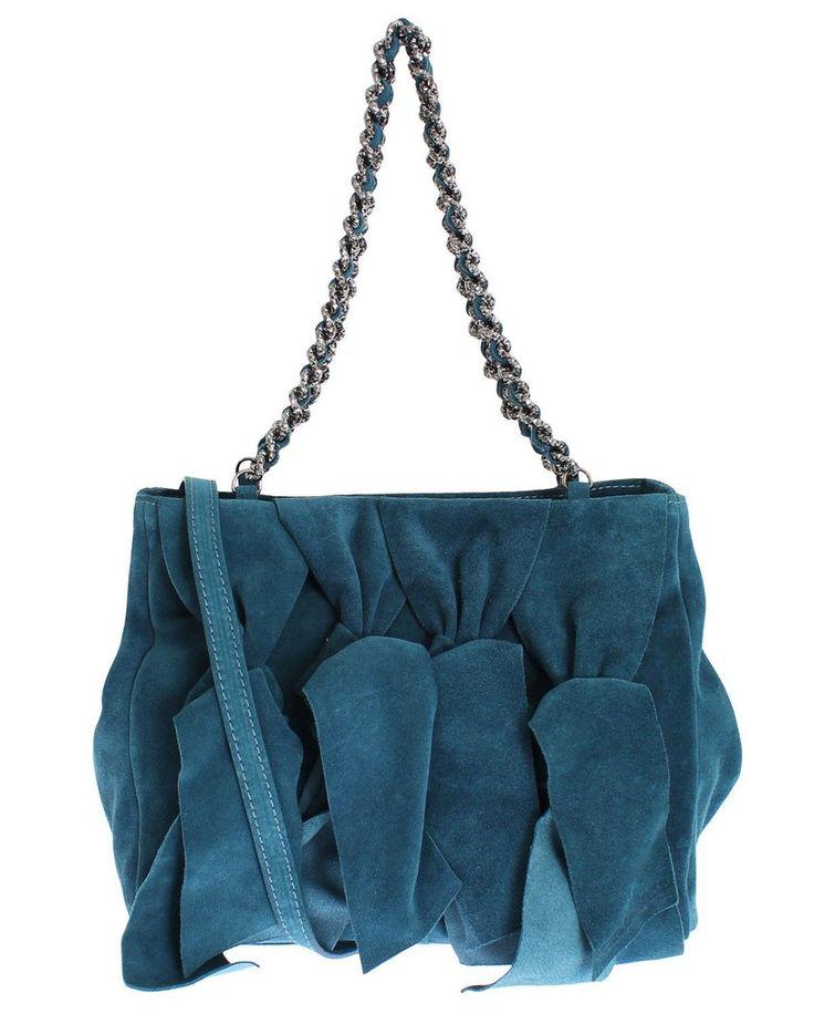 ERMANNO SCERVINO Blue Suede Leather Shoulder Bag #blue #cf-color-blue #cf-size-medium