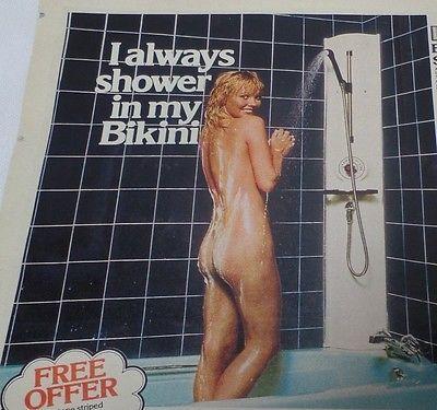 "Vintage Pretty Girl Nude  - ""Leisure Bikini 'Six' Shower"" Advertisment Print"