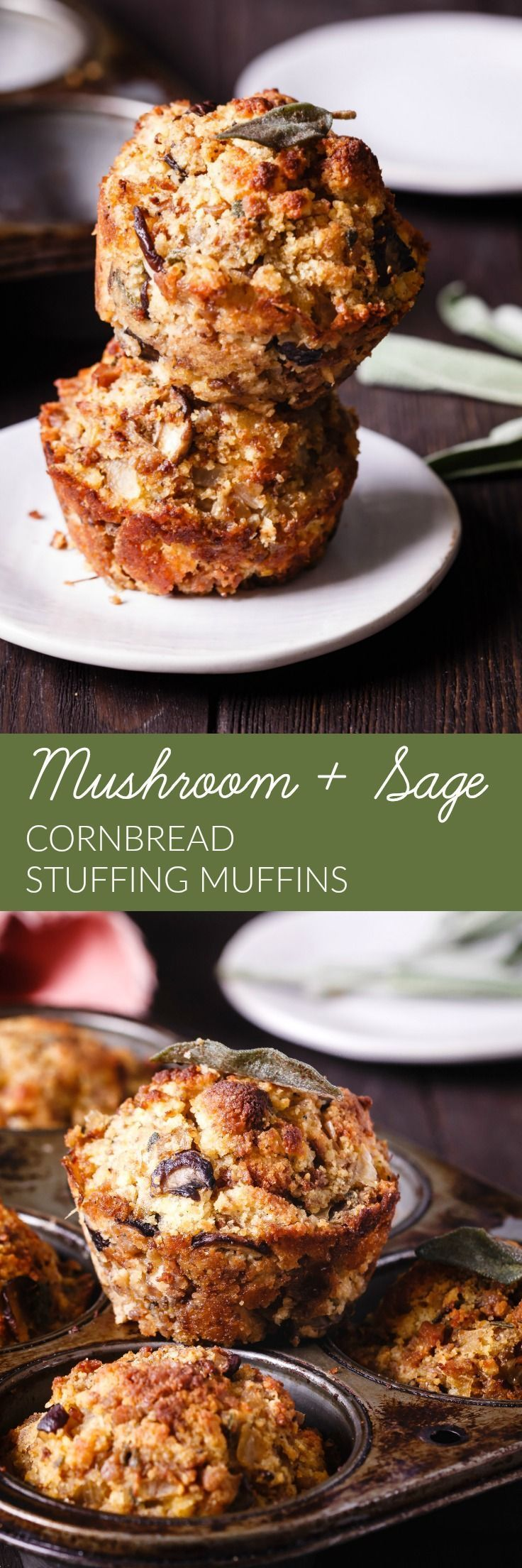Moist and bursting with flavor from a variety of mushrooms and crispy sage, these Cornbread Stuffing Muffins are an imaginative way to serve stuffing!