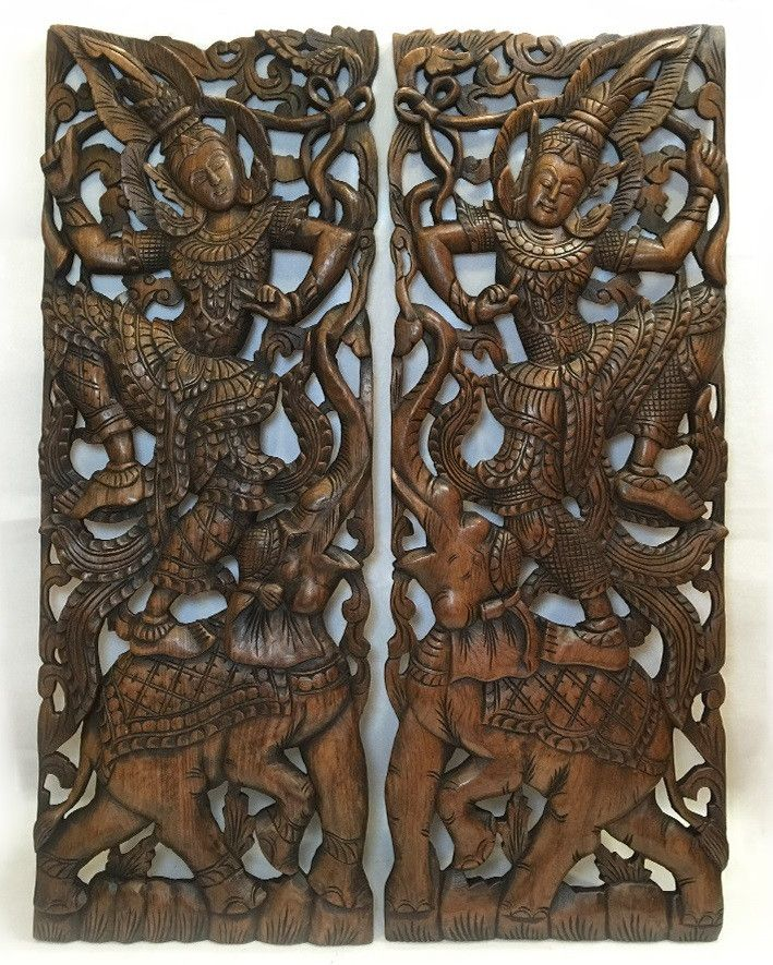 """Traditional Thai Dance Figure and Elephant Wall Decor Design in Dark Brown Finish 35.5""""x13.5""""x1"""" Each, Set of 2 pcs"""