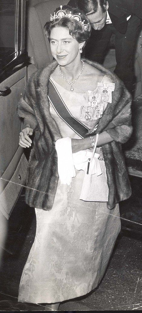Princess Margaret arrives at a reception at the Thailand Embassy in 1960 resplendent in the Lotus Flower Tiara