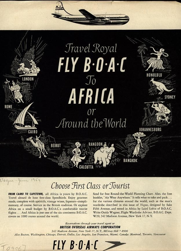 Flying BOAC to Africa. 1954.Fly Boac, Royal Fly, International Travel, Travel Royal