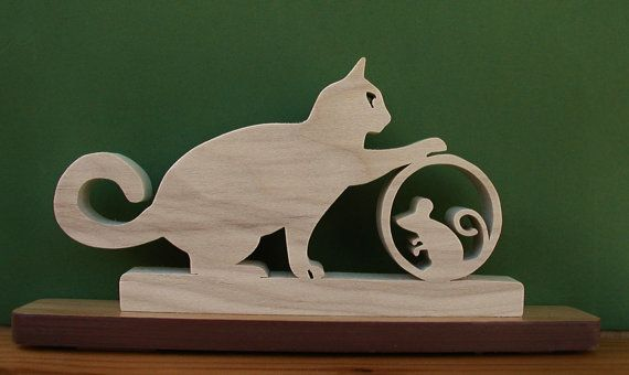 Cat and Mouse Desk Sign Very Unique Cut On Scroll Saw | Duke's Scroll Saw | Scroll saw, Scroll ...