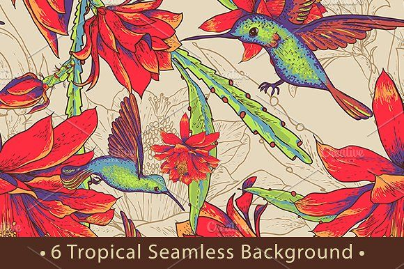 Tropical Seamless Background by Depiano on @creativemarket