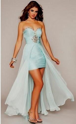 Semi Formal Dresses for Teens | High Low Strapless Ruffed Semi-Formal Prom Dress
