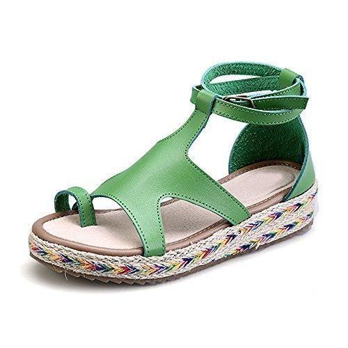 Oferta: 28.99€. Comprar Ofertas de Zapatillas de Moda Sandalias alpargatas abierto de plataforma Tobillo mujer Verde 39 barato. ¡Mira las ofertas!