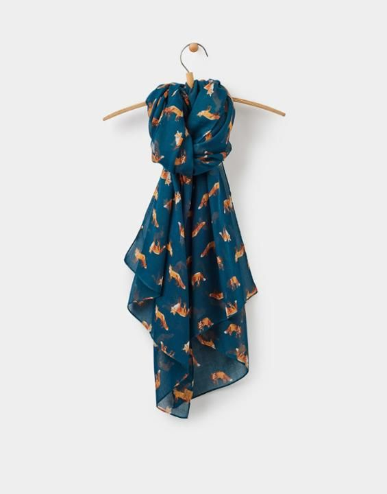 Wensley Parsley Fox Scarf , Size One Size | Joules UK