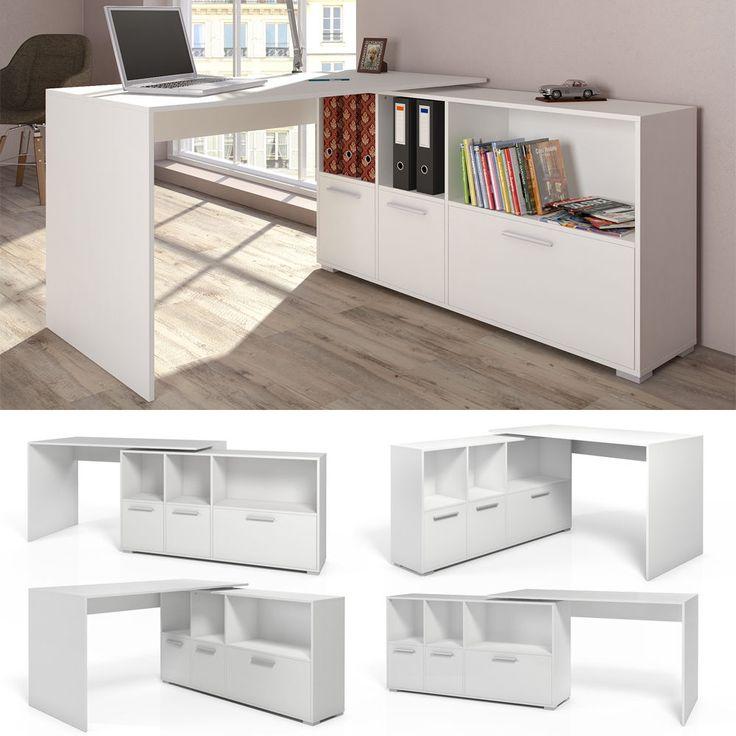 Mesa de Escritorio en L Escritorio esquinero Escritorio computadora blanco | eBay