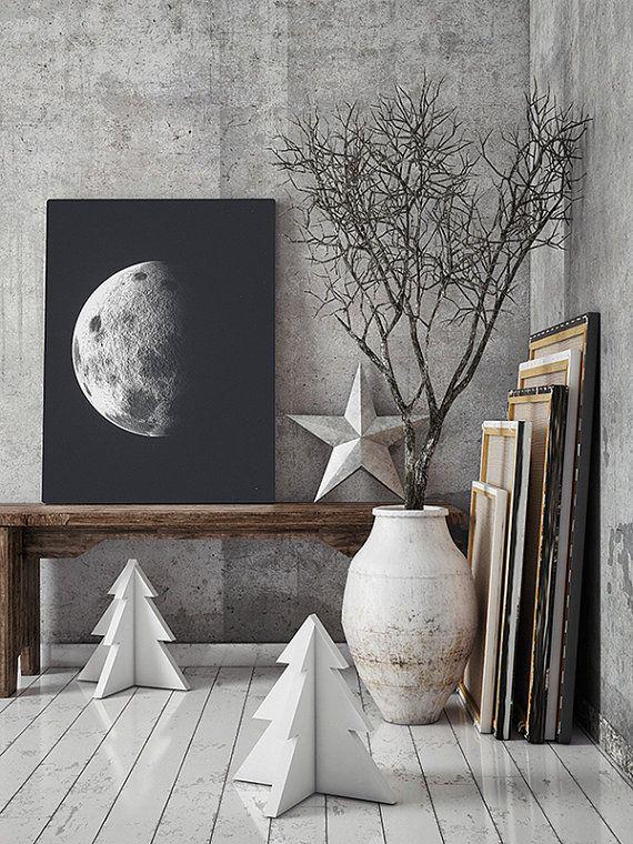 Luna lona. Impresión del Vintage de la Luna. Arte de por ILKADesign