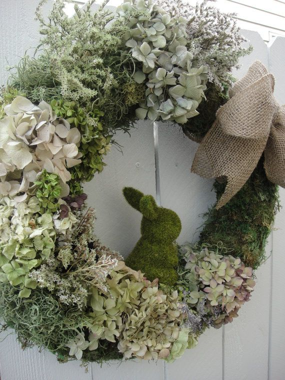 Easter Bunny Wreath Moss Wreath Spring and by donnahubbard, $80.00
