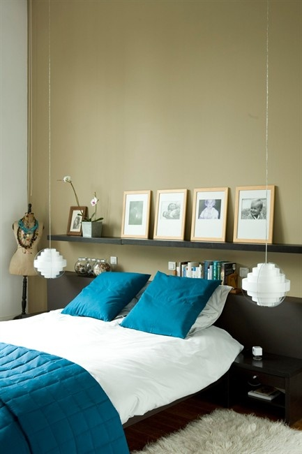 Shelf for headboard .... Creating an open-plan interior in an old house - shelf above bed