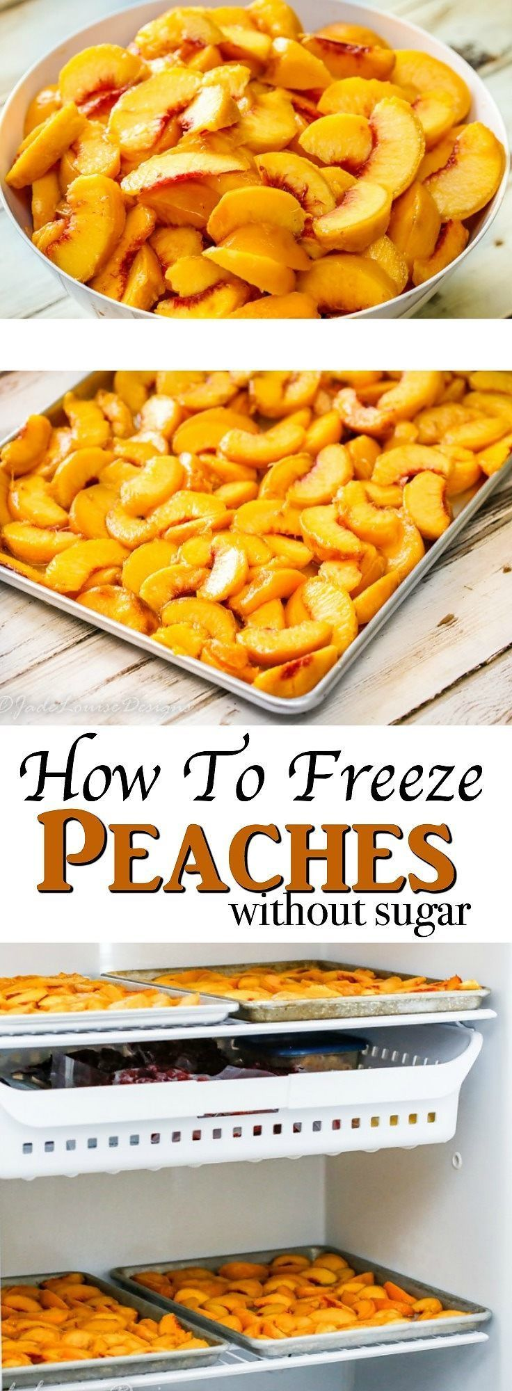 Learn How to *freeze peaches without Sugar*! Freezing peaches without sugar comes really handy when you have a ton of fresh fresh peaches to process before they go bad. It allows  you to have ripe peaches all year long!