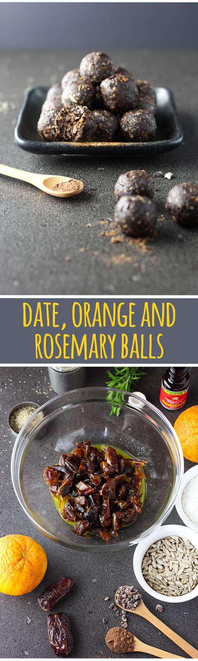 Truffle or bliss ball? Who even knows any more. Chocolatey date, orange and rosemary balls are dark and delicious, grown up and a little bit healthy. #vegan #vegetarian #glutenfree #dairyfree #dessert #sweets #dates #orange #cacao #recipes