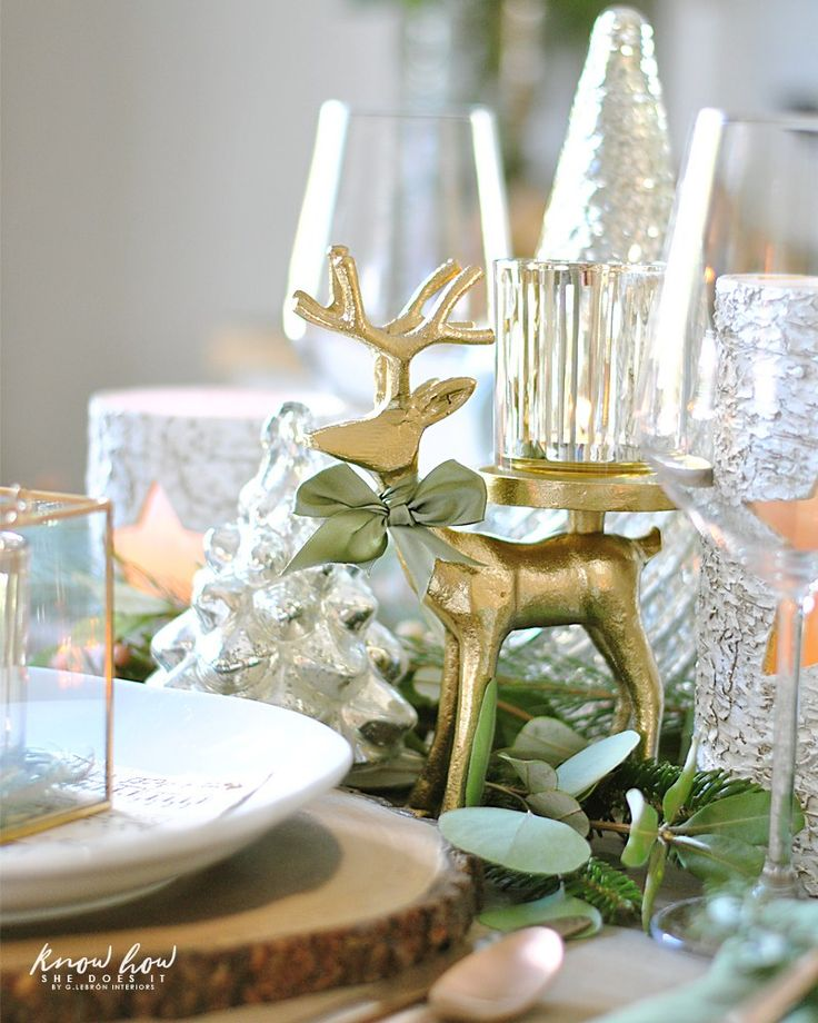 Winter Inspired Holiday Tablescape Deer Candle Holder