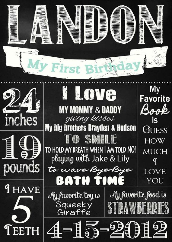 Shabby Chic Vintage 20x30 Chalkboard Sign Boys or Girls First Birthday Party