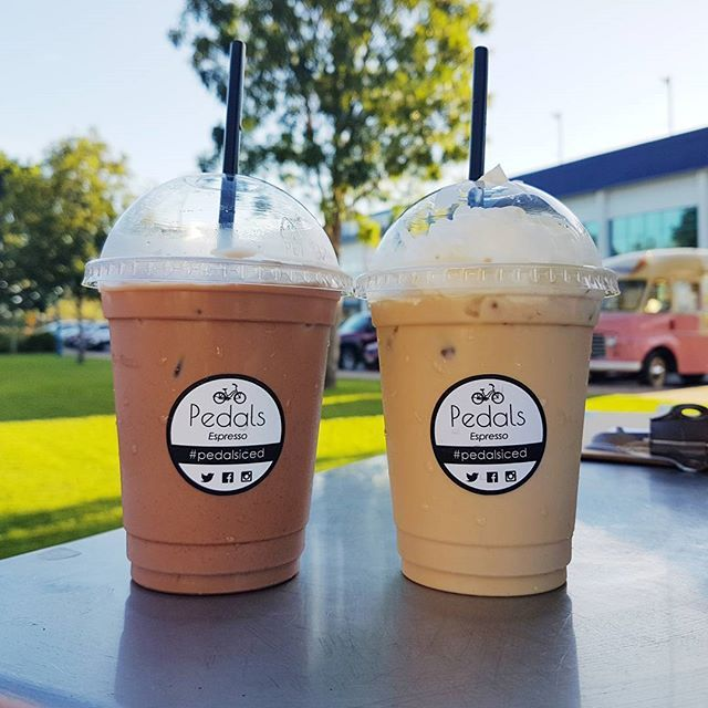 Could definitely go for one of these this morning despite the cold weather!  Iced coffee or Iced mocha which is your favourite?  #pedalsespresso #bikingbarista #baristalife #bicyclecoffeecart #coffee #coffeelover #icedcoffee #mocha #weather #happy #love #delicious #frasercoast_eats