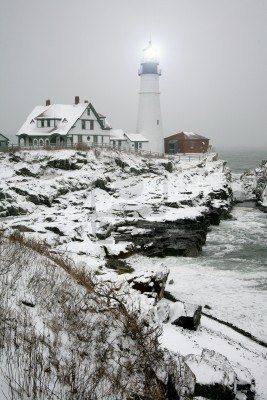 Winter view of the Portland Head Light - Maine, USA