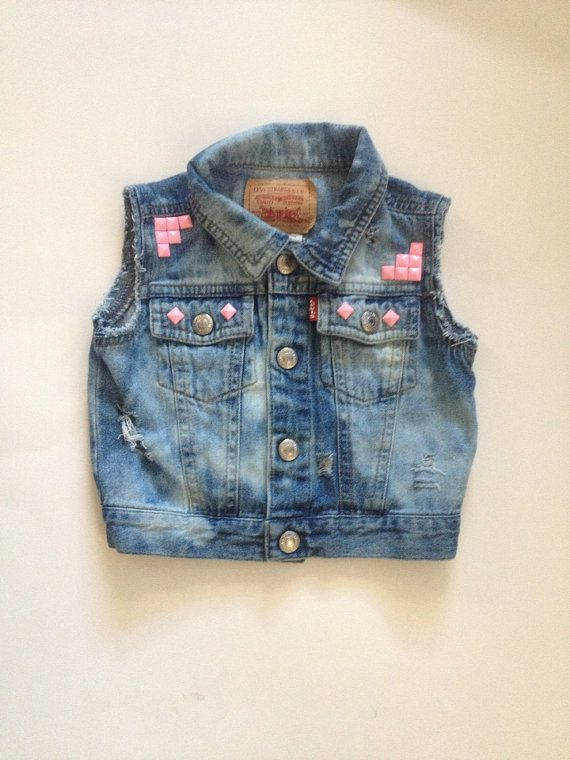 distressed denim vest with pink studs // little girl style
