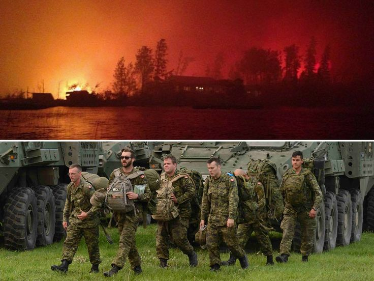 Top: Flames surround a home in La Ronge, Saskatchewan. Bottom: Members of the Immediate Response Unit (West) arrive at  the Prince Albert Armoury, ready to fight fires with picks and shovels.