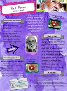 Paulo Reglus Neves Freire, Ph.D (19, 1921 – May 2, 1997) was a Brazilian educator and philosopher who was a leading advocate of critical pedagogy. He is best known for his influential work, Pedagogy of the Oppressed, which is considered one of the foundational texts of the critical pedagogy movement. #Glogster #PauloFreire