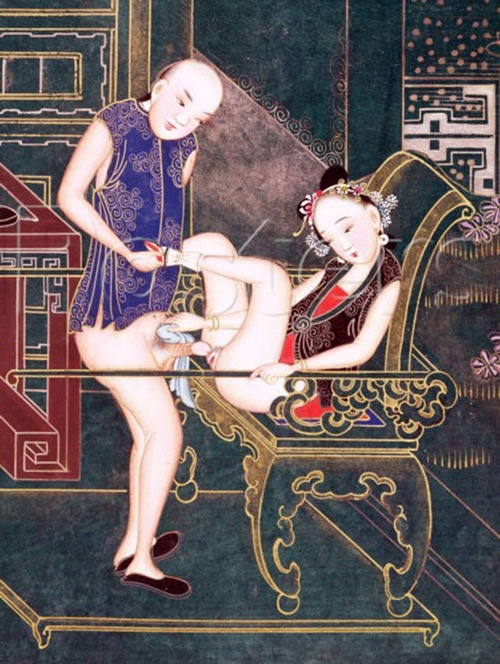 Here is an example of a classic piece of Chinese erotic art. Notice how the flowers in her hair have been rendered with wonderful detail and the fine scrolling design in garments of both him and her.