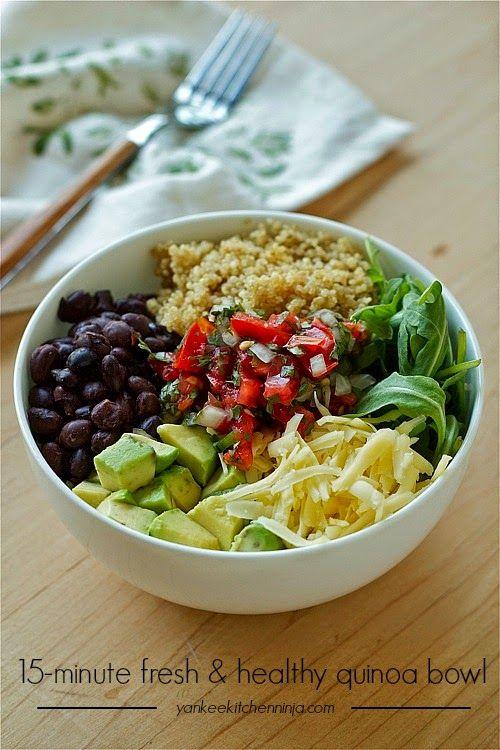 15-minute black bean and avocado quinoa bowl   yankeekitchenninja.com