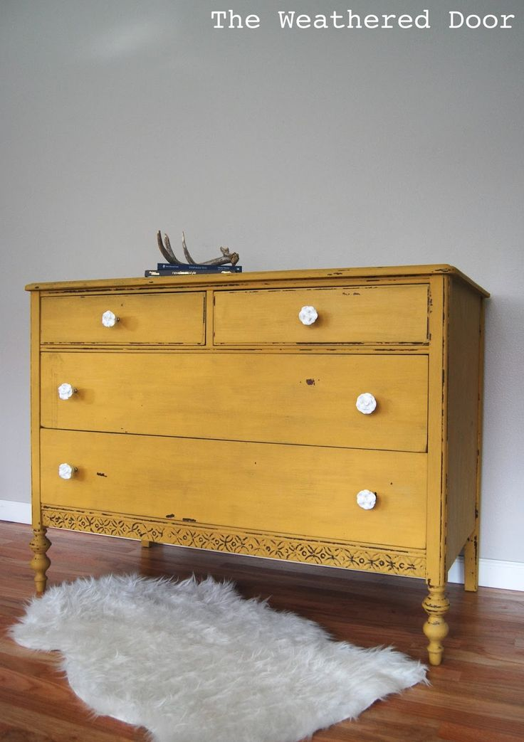 A chippy, mustard yellow dresser | The Weathered Door
