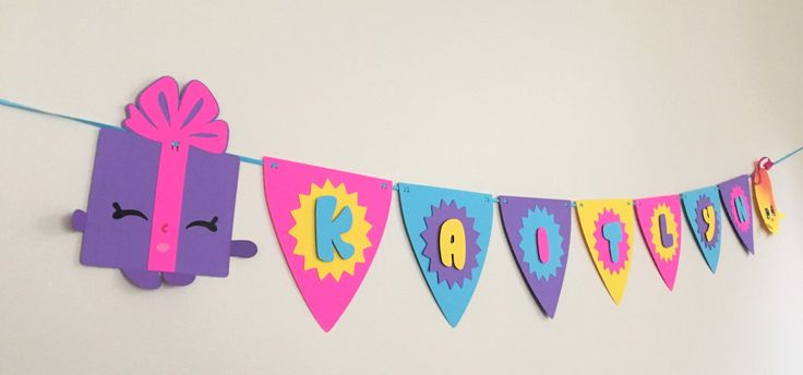 Personalized Name Banner - cute decoration for a birthday celebration or Shopkins themed party by Kraftkins on Etsy https://www.etsy.com/listing/276926176/personalized-name-banner-cute-decoration