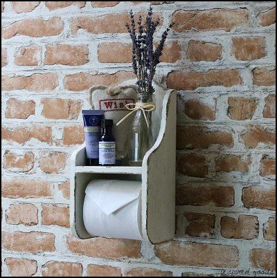 French vintage style distressed wooden cream toilet roll for Commode style shabby