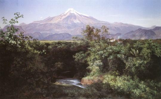 1892 - 'Volcán de Orizaba desde la Hacienda de San Miguelito', by Jose Maria Velasco (Mexican, Temascalcingo, 1840-1912). Oil on canvas. Realism Art