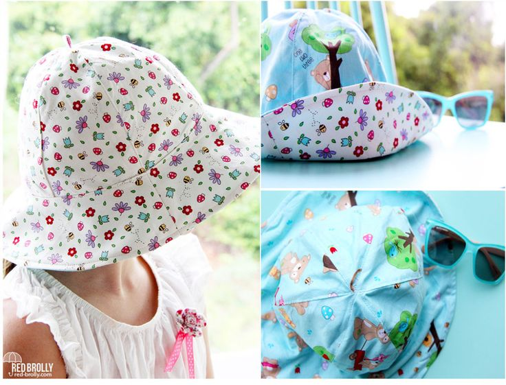 Reversible Kids Sun Hat FREE Pattern featuring Melly & Me's Teddy Bear's Picnic fabric line #iloverileyblake #fabricismyfun
