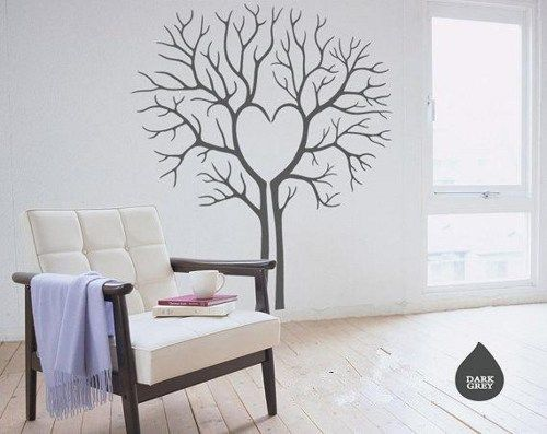 Heart love Twin Tree without leaf leaves house home Art Decals Wall Sticker Vinyl Wall Decal stickers living room bed ba